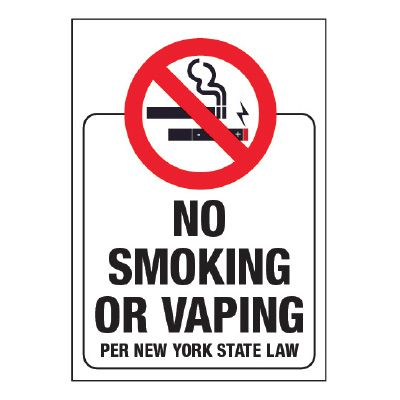 New York State No Smoking or Vaping Glass Label (w/ Graphic)
