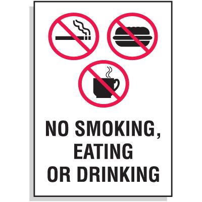 No Smoking, Eating or Drinking Sign