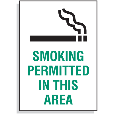 Smoking Permitted In This Area Signs