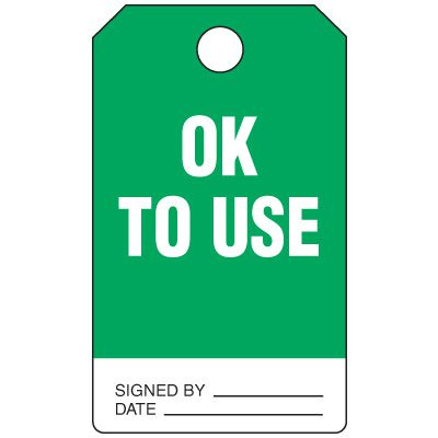 Ok To Use - Grommet-Free Heavy Duty Plastic Tag