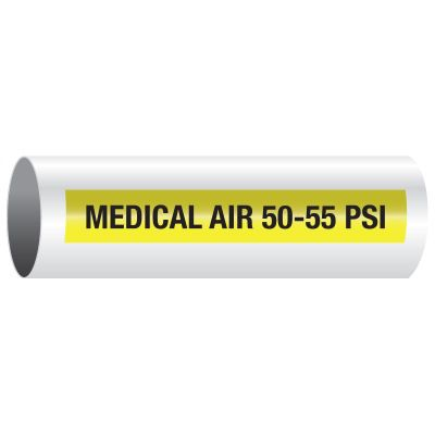 Opti-Code™ Self-Adhesive Medical Gas Pipe Markers - Medical Air 50-55 PSI