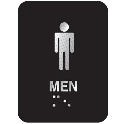 Braille ADA Signs (Aluminum) - Men, Text & Symbol Only