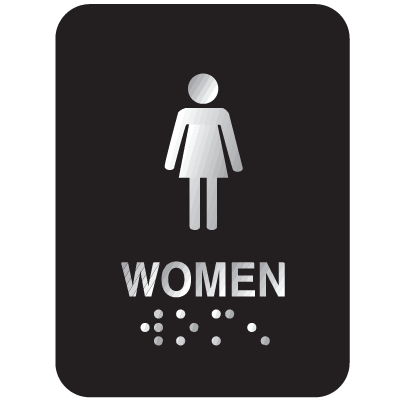 Braille ADA Signs (Aluminum) - Women, Text & Symbol