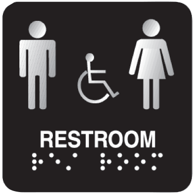 Outdoor Aluminum ADA Braille Signs - Restroom
