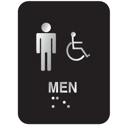 Outdoor Aluminum Braille ADA Signs - Men