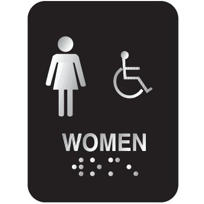 Outdoor Aluminum Braille ADA Signs - Women