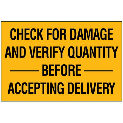 Check For Damage Package Handling Label