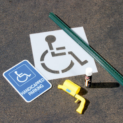ADA Handicapped Parking Lot Sign And Stencil Kit