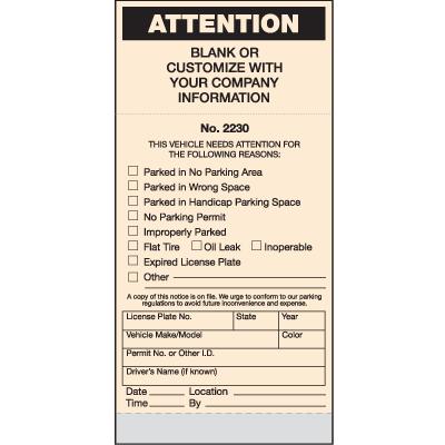 Custom Parking Violation Tickets