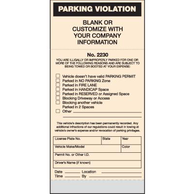 Spiral Parking Violation Tickets