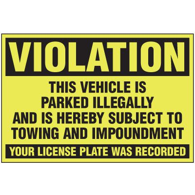 Parked Illegally Parking Violation Warning Labels