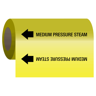 Self-Adhesive Pipe Markers-On-A-Roll - Medium Pressure Steam