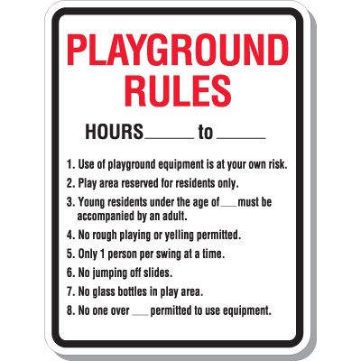 Playground Rules - Playground Signs