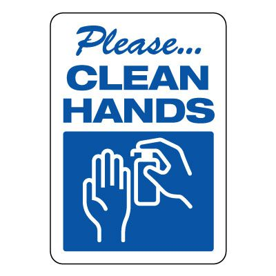 Please Clean Hands Sign