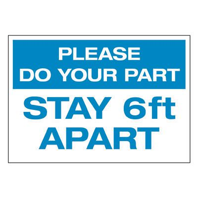 Please Do Your Part Stay 6 Feet Apart Label