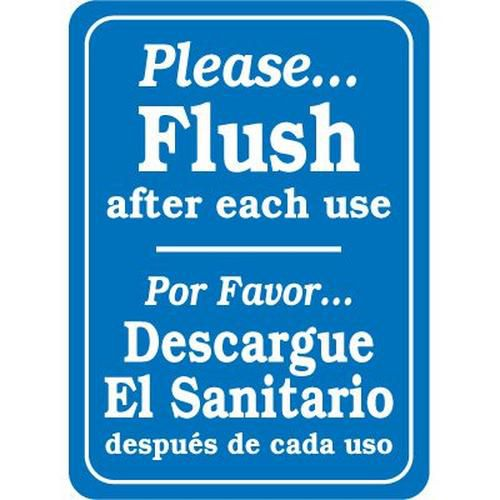Bilingual Please Flush After Use Sign