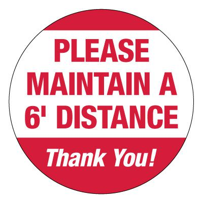 Economy Floor Marking Stickers - Please Maintain 6ft Distance