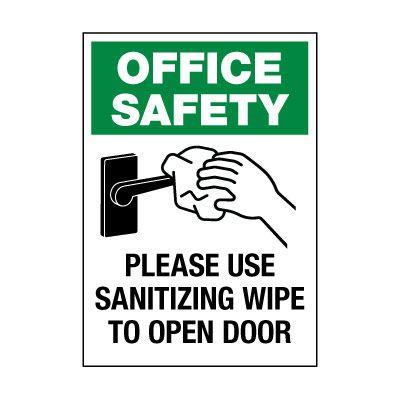 Please Use Sanitizing Wipe Label