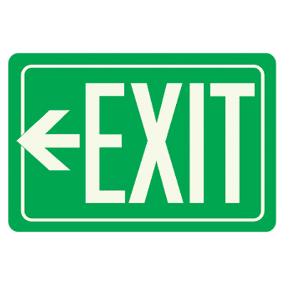 Exit Sign With Left Arrow - Glow-In-The-Dark Polished Green Sign