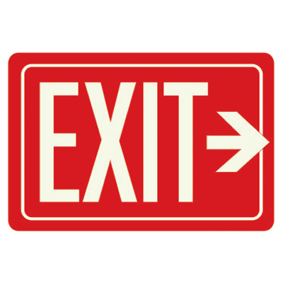 Exit Sign With Right Arrow - Glow-In-The-Dark Polished Red Sign