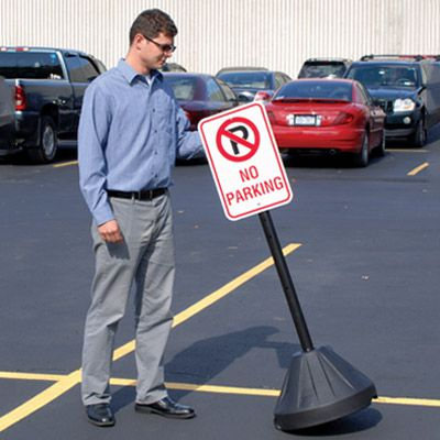 Portable Sign Stanchion - No Parking