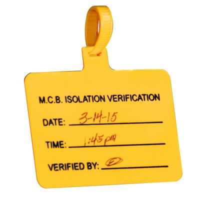 Pre-Printed Stock Jumbo Tags - MCB Isolation Verification