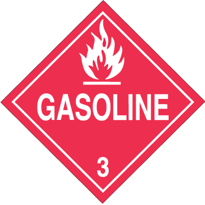 Gasoline Hazardous Material Placards