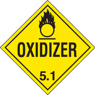 Oxidizer Hazardous Material Placards