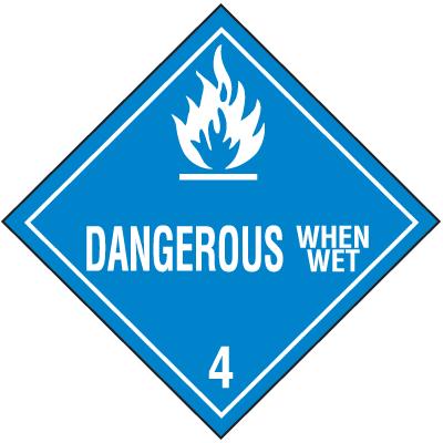 DOT Dangerous When Wet Hazard Class 4 Material Shipping Labels