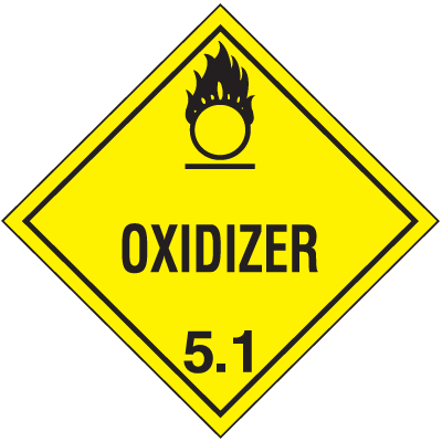 DOT Oxidizer 5.1 Hazard Class 5 Material Shipping Labels