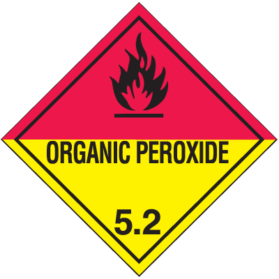 DOT Organic Peroxide 5.2 Hazard Class 5 Material Shipping Labels