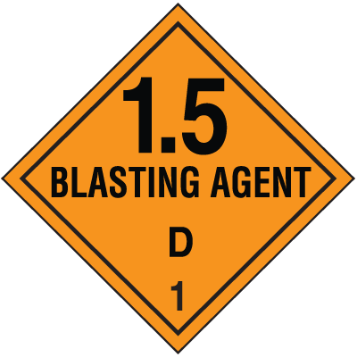 DOT Primary & Subsidiary Risk Hazardous Material Shipping Labels- Blasting Agent