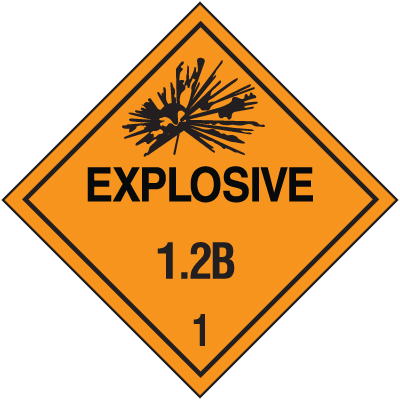 DOT Explosive 1.2B Hazard Class 1 Material Shipping Labels