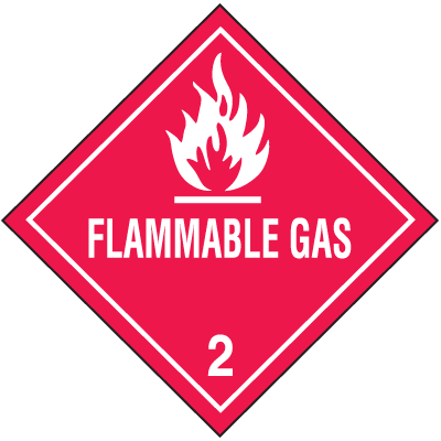 Flammable Gas Hazard Class 2 Material Shipping Labels