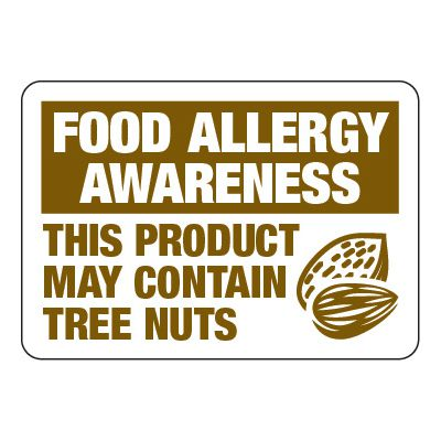 Product May Contain Tree Nuts - Food Allergy Awareness Signs