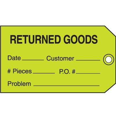 Returned Goods Maintenance Tags