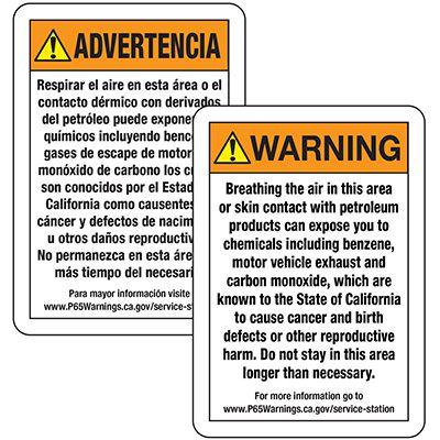 Prop 65 Service Station Warning Sign ANSI - English/Spanish