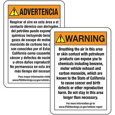 Prop 65 Vehicle Repair Warning Signs