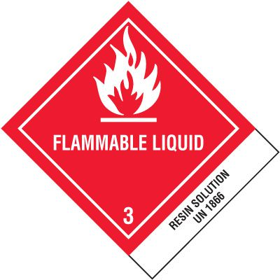 DOT Placard Shipping Labels - Flammable Liquid UN1866 Resin Solution