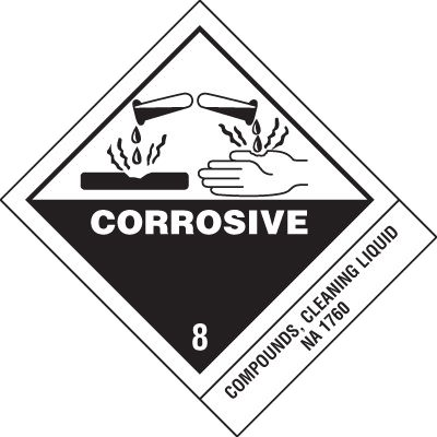 Corrosives Cleaning Liquid DOT Placard Shipping Labels
