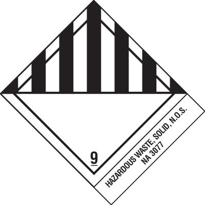 Hazardous Waste DOT Placard Shipping Labels