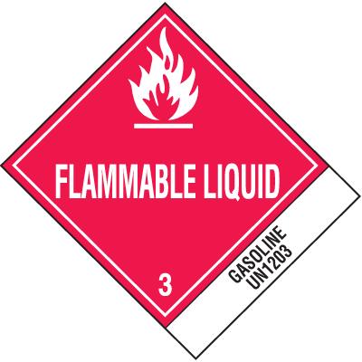 Flammable Liquid Gasoline UN1203 DOT Shipping Labels