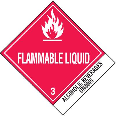 Alcoholic Beverages UN3065 DOT Shipping Labels