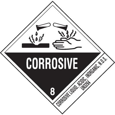 Corrosive Liquid UN3264 DOT Shipping Labels