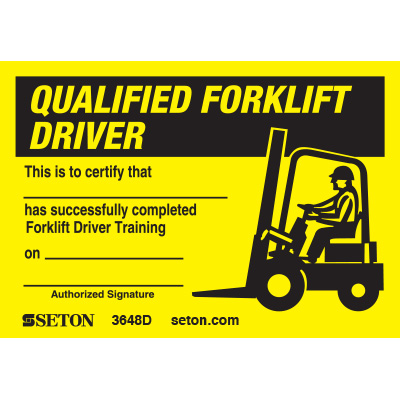 Certification Wallet Card - Qualified Forklift Driver