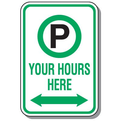 Rapid-Ship Custom Parking Signs - Parking Symbol with Arrow