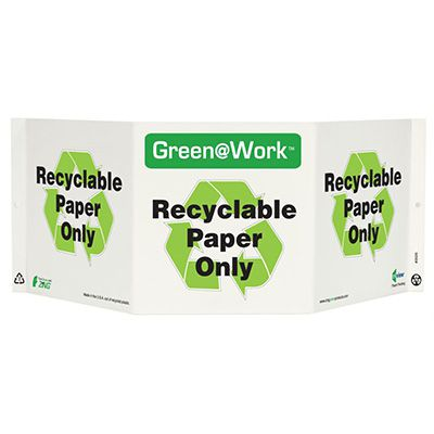 Recyclable Paper Tri View Recycling Sign