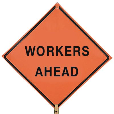 TrafFix Devices Mesh Roll-Up Signs - Workers Ahead 26036-EM-HF