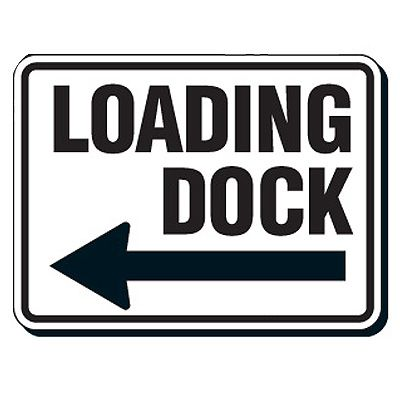 Reflective Parking Lot Signs - Loading Dock (Left Arrow)