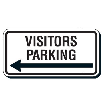 Reflective Parking Lot Signs - Visitors Parking (Left Arrow)